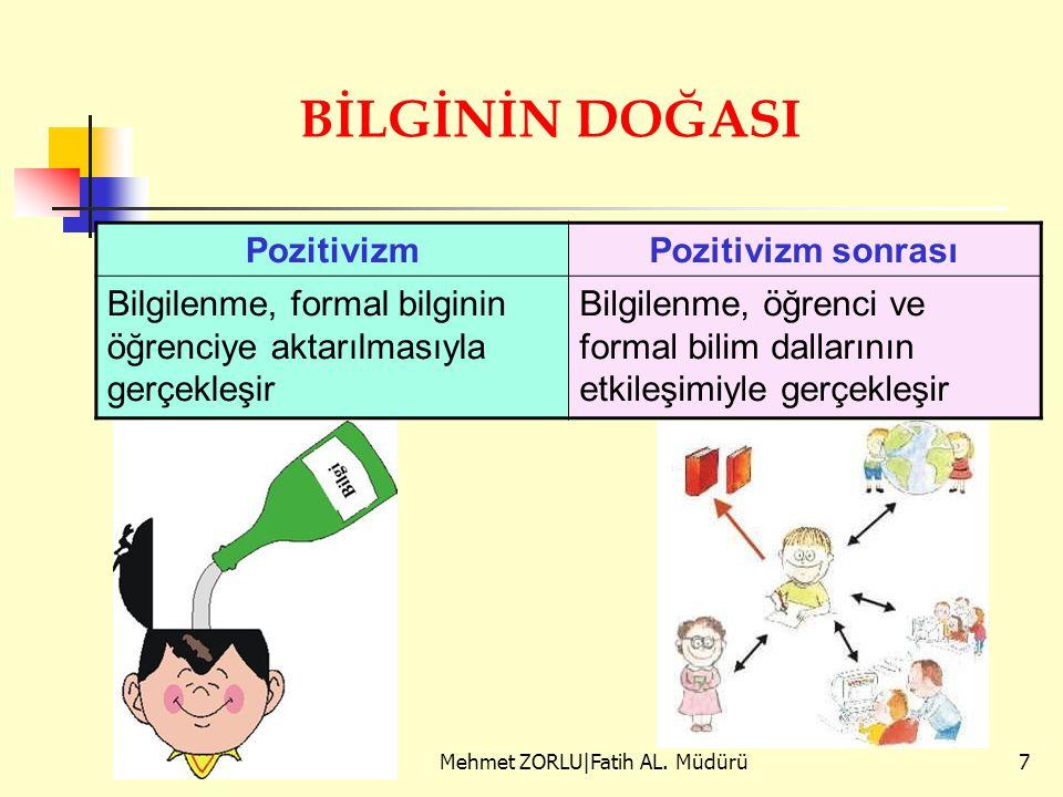 PozitivizmPozitivizm sonrası Bilgilenme, formal bilginin öğrenciye aktarılmasıyla gerçekleşir Bilgilenme, öğrenci ve formal bilim dallarının etkileşim
