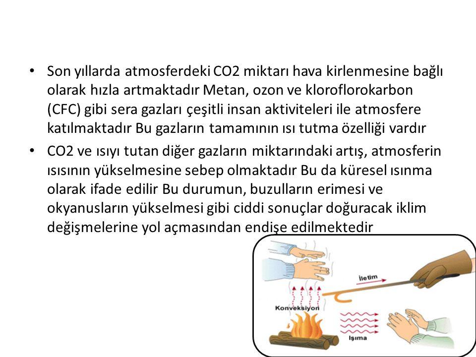 Son yıllarda atmosferdeki CO2 miktarı hava kirlenmesine bağlı olarak hızla artmaktadır Metan, ozon ve kloroflorokarbon (CFC) gibi sera gazları çeşitli insan aktiviteleri ile atmosfere katılmaktadır Bu gazların tamamının ısı tutma özelliği vardır CO2 ve ısıyı tutan diğer gazların miktarındaki artış, atmosferin ısısının yükselmesine sebep olmaktadır Bu da küresel ısınma olarak ifade edilir Bu durumun, buzulların erimesi ve okyanusların yükselmesi gibi ciddi sonuçlar doğuracak iklim değişmelerine yol açmasından endişe edilmektedir
