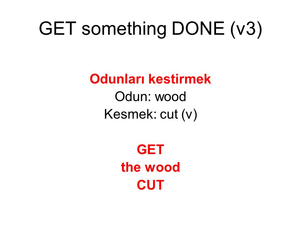 Odunları kestirmek Odun: wood Kesmek: cut (v) GET the wood CUT