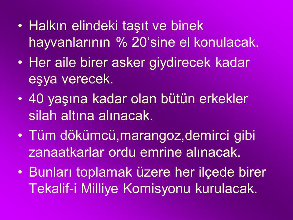 TEKALİF-İ MİLLİYE EMİRLERİ (8 AĞUSTOS 1921 ) M. Kemal Meclisten aldığı geniş yetkiyle, orduyu savaşa hazırlamak ve ordu için gerekli olan acil ihtiyaç