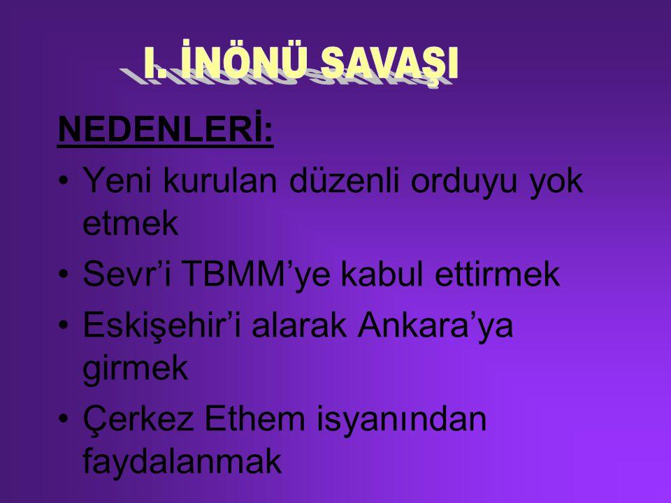 NEDENLERİ: Yeni kurulan düzenli orduyu yok etmek Sevr'i TBMM'ye kabul ettirmek Eskişehir'i alarak Ankara'ya girmek Çerkez Ethem isyanından faydalanmak