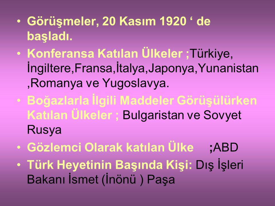 LOZAN BARIŞ ANTLAŞMASI (24 TEMMUZ 1924 ): Antlaşma Öncesi Yaşanan Gelişmeler; TBMM Hükümeti, Barış görüşmelerinin İzmir'de yapılmasını istedi. Bundaki