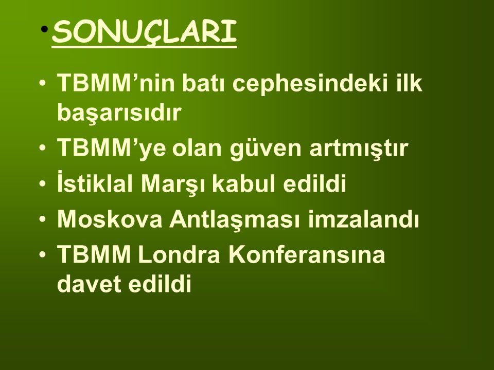 TBMM'nin batı cephesindeki ilk başarısıdır TBMM'ye olan güven artmıştır İstiklal Marşı kabul edildi Moskova Antlaşması imzalandı TBMM Londra Konferansına davet edildi SONUÇLARI