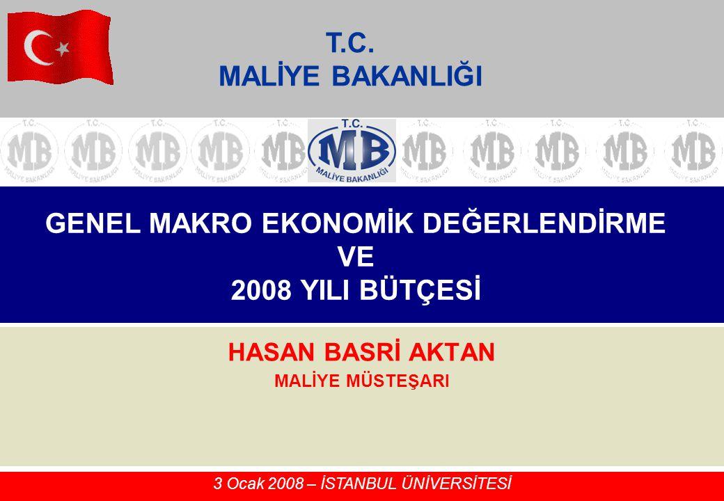 GENEL MAKRO EKONOMİK DEĞERLENDİRME VE 2008 YILI BÜTÇESİ HASAN BASRİ AKTAN MALİYE MÜSTEŞARI 3 Ocak 2008 – İSTANBUL ÜNİVERSİTESİ T.C. MALİYE BAKANLIĞI