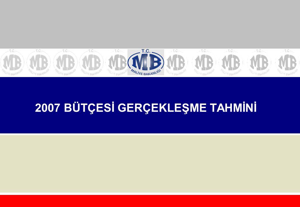 2007 BÜTÇESİ GERÇEKLEŞME TAHMİNİ