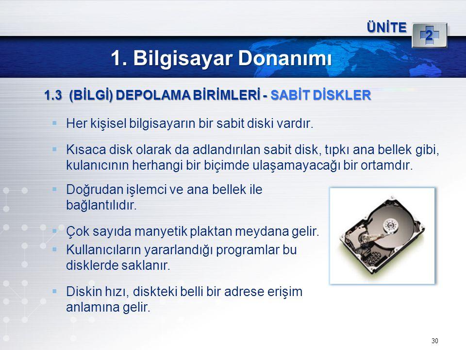 30 ÜNİTE 2 1. Bilgisayar Donanımı 1.3 (BİLGİ) DEPOLAMA BİRİMLERİ - SABİT DİSKLER  Her kişisel bilgisayarın bir sabit diski vardır.  Kısaca disk olar