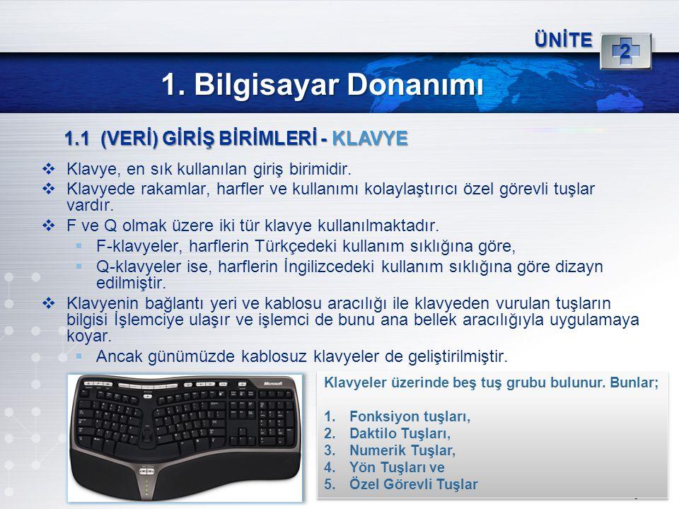 5 ÜNİTE 2 1. Bilgisayar Donanımı 1.1 (VERİ) GİRİŞ BİRİMLERİ - KLAVYE  Klavye, en sık kullanılan giriş birimidir.  Klavyede rakamlar, harfler ve kull