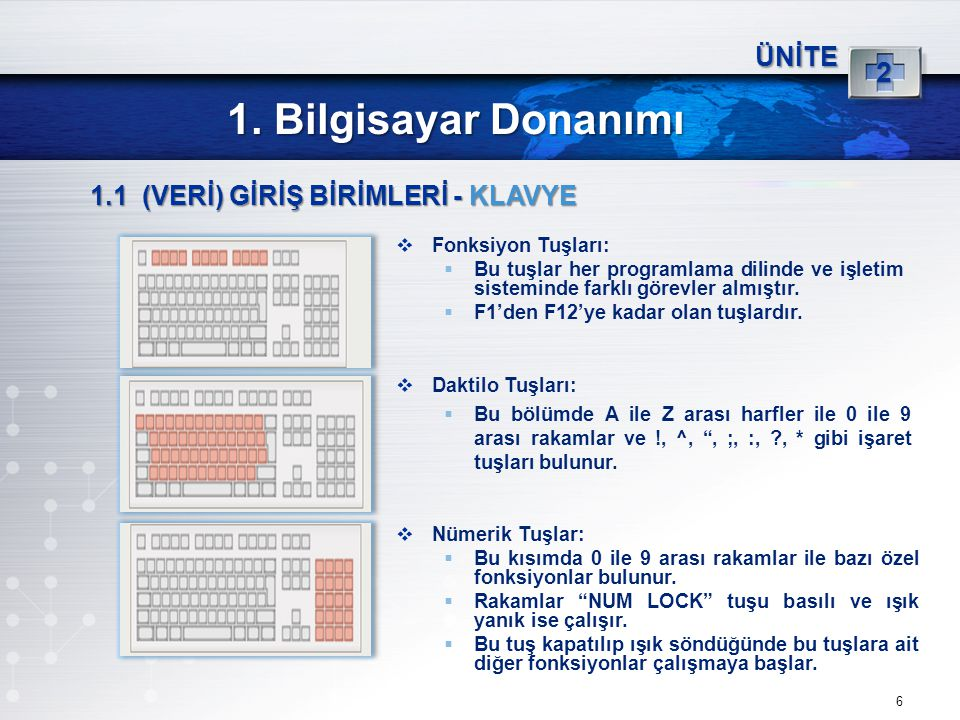 6 ÜNİTE 2 1. Bilgisayar Donanımı 1.1 (VERİ) GİRİŞ BİRİMLERİ - KLAVYE  Fonksiyon Tuşları:  Bu tuşlar her programlama dilinde ve işletim sisteminde fa