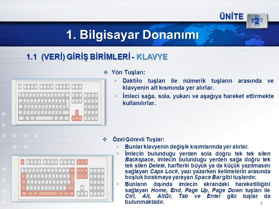 7 ÜNİTE 2 1. Bilgisayar Donanımı 1.1 (VERİ) GİRİŞ BİRİMLERİ - KLAVYE  Yön Tuşları:  Daktilo tuşları ile nümerik tuşların arasında ve klavyenin alt k