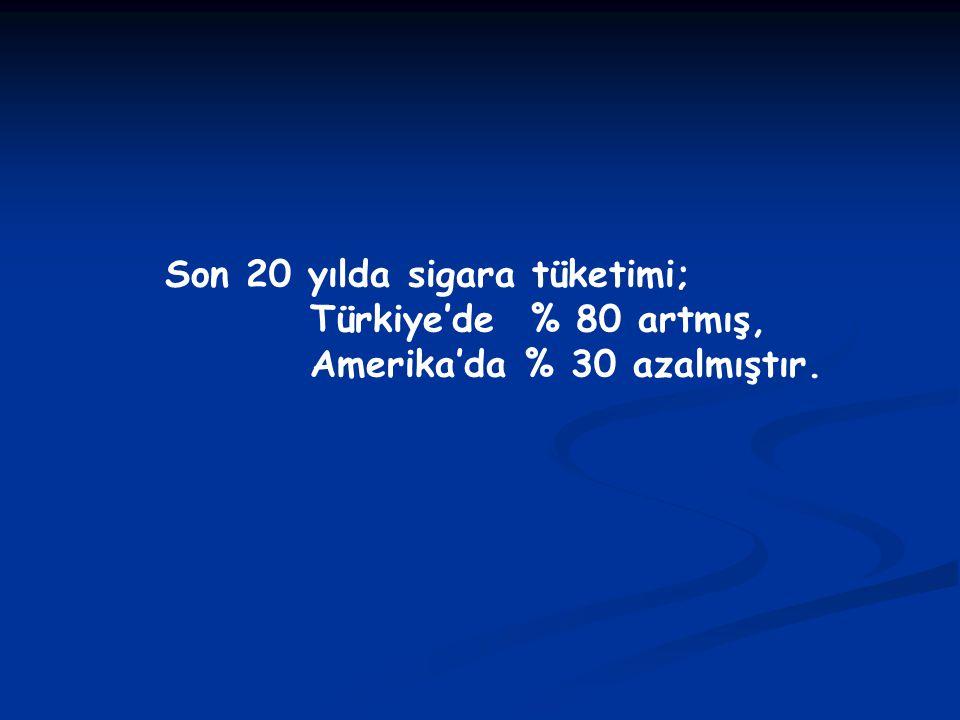 Son 20 yılda sigara tüketimi; Türkiye'de % 80 artmış, Amerika'da % 30 azalmıştır.