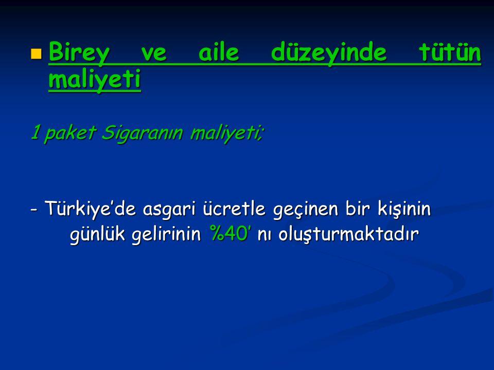Birey ve aile düzeyinde tütün maliyeti Birey ve aile düzeyinde tütün maliyeti 1 paket Sigaranın maliyeti; - Türkiye'de asgari ücretle geçinen bir kişi