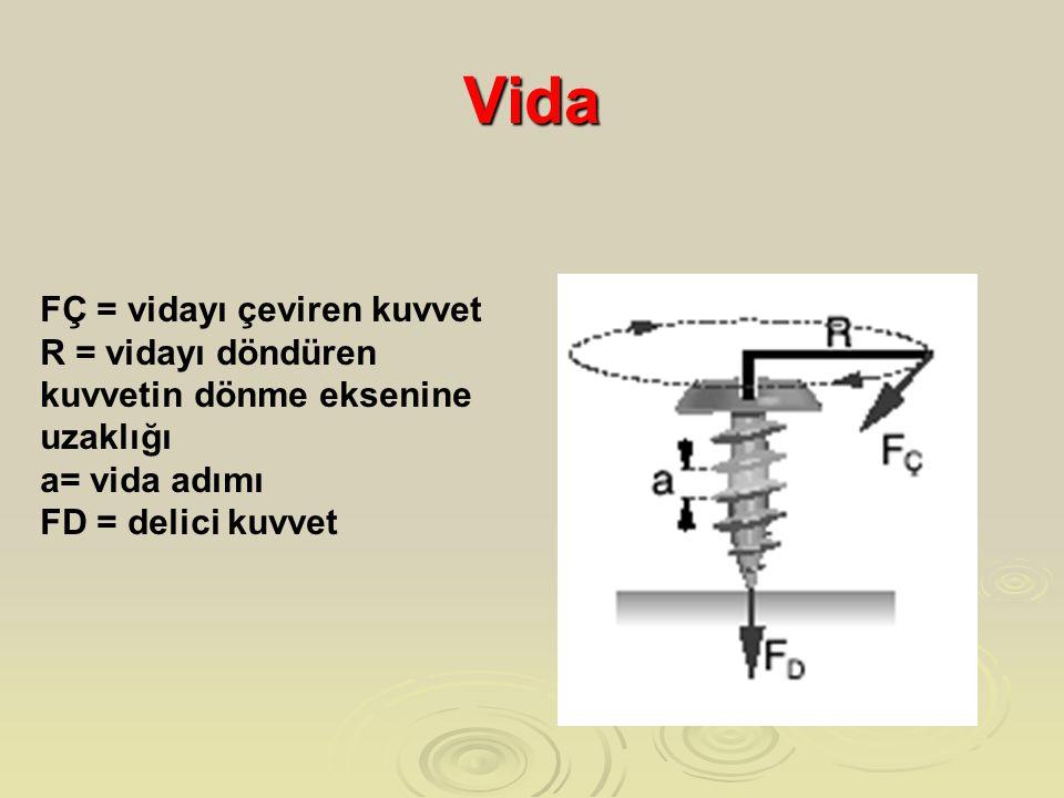 Vida FÇ = vidayı çeviren kuvvet R = vidayı döndüren kuvvetin dönme eksenine uzaklığı a= vida adımı FD = delici kuvvet