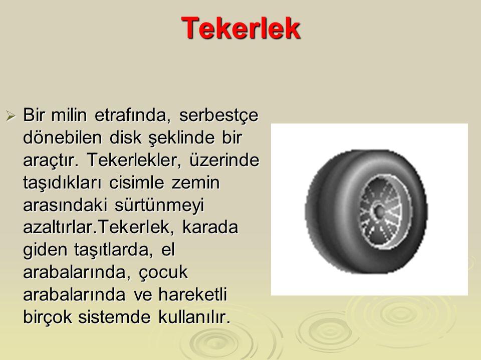 Tekerlek  Bir milin etrafında, serbestçe dönebilen disk şeklinde bir araçtır. Tekerlekler, üzerinde taşıdıkları cisimle zemin arasındaki sürtünmeyi a
