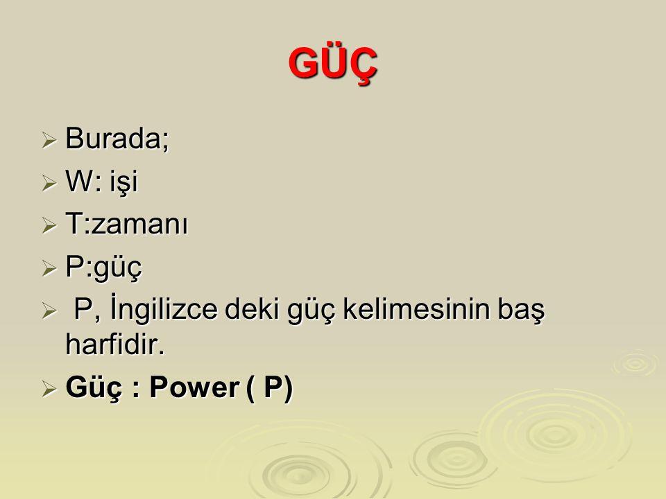 GÜÇ  Burada;  W: işi  T:zamanı  P:güç  P, İngilizce deki güç kelimesinin baş harfidir.  Güç : Power ( P)