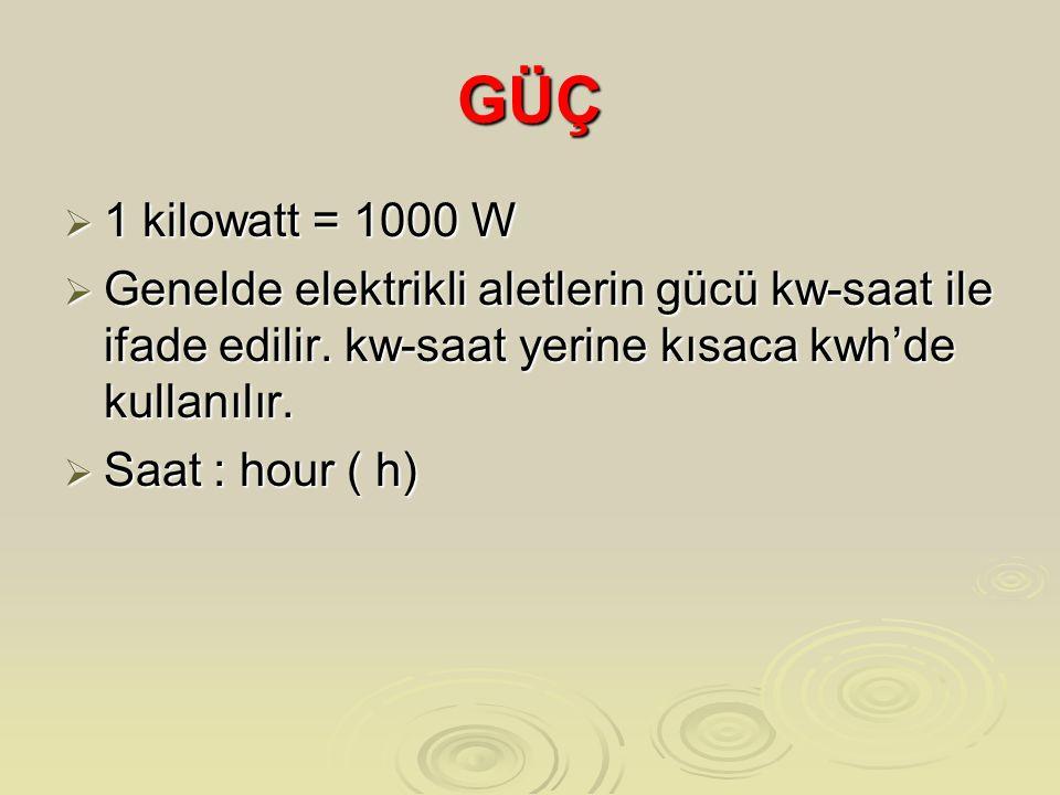 GÜÇ  1 kilowatt = 1000 W  Genelde elektrikli aletlerin gücü kw-saat ile ifade edilir.