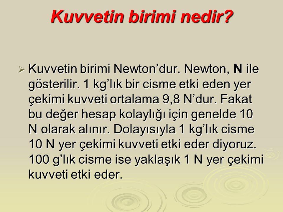 Kuvvetin birimi nedir?  Kuvvetin birimi Newton'dur. Newton, N ile gösterilir. 1 kg'lık bir cisme etki eden yer çekimi kuvveti ortalama 9,8 N'dur. Fak