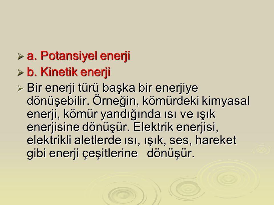  a. Potansiyel enerji  b. Kinetik enerji  Bir enerji türü başka bir enerjiye dönüşebilir. Örneğin, kömürdeki kimyasal enerji, kömür yandığında ısı