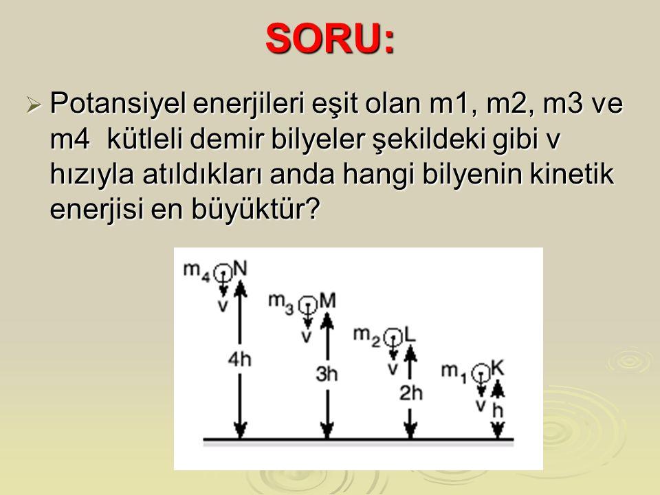 SORU:  Potansiyel enerjileri eşit olan m1, m2, m3 ve m4 kütleli demir bilyeler şekildeki gibi v hızıyla atıldıkları anda hangi bilyenin kinetik enerjisi en büyüktür?