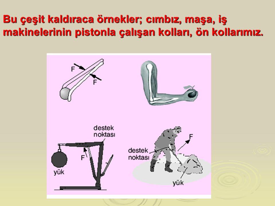 Bu çeşit kaldıraca örnekler; cımbız, maşa, iş makinelerinin pistonla çalışan kolları, ön kollarımız.