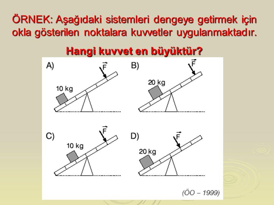 ÖRNEK: Aşağıdaki sistemleri dengeye getirmek için okla gösterilen noktalara kuvvetler uygulanmaktadır. Hangi kuvvet en büyüktür?