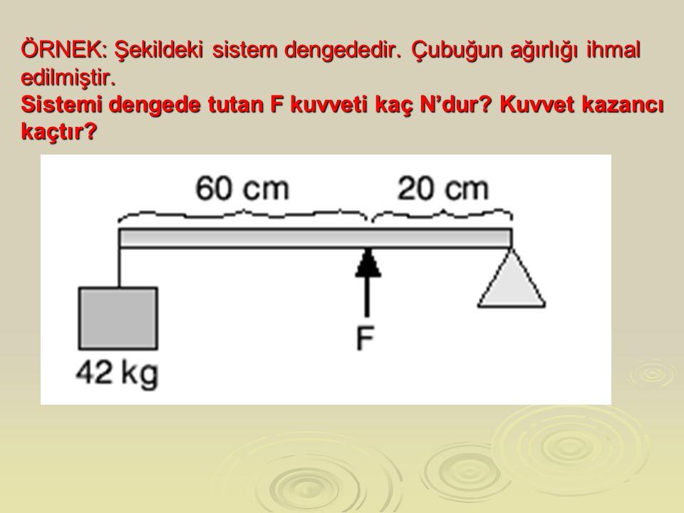 ÖRNEK: Şekildeki sistem dengededir. Çubuğun ağırlığı ihmal edilmiştir. Sistemi dengede tutan F kuvveti kaç N'dur? Kuvvet kazancı kaçtır?