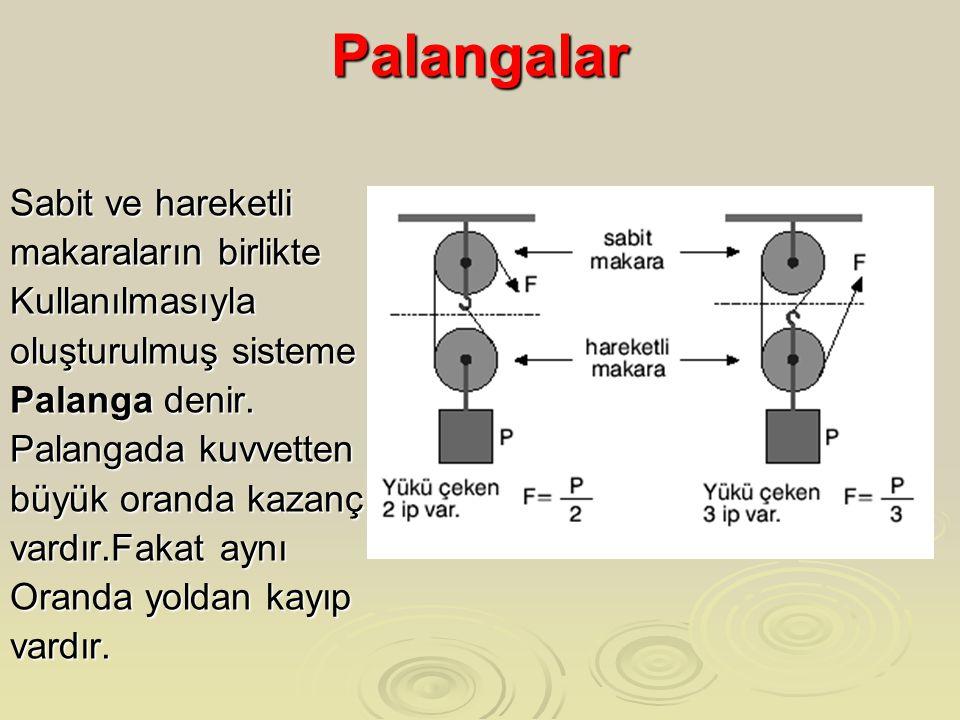 Palangalar Sabit ve hareketli makaraların birlikte Kullanılmasıyla oluşturulmuş sisteme Palanga denir. Palangada kuvvetten büyük oranda kazanç vardır.