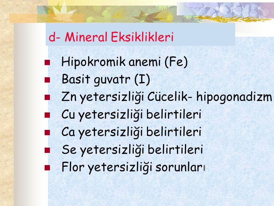 d- Mineral Eksiklikleri Hipokromik anemi (Fe) Basit guvatr (I) Zn yetersizliği Cücelik- hipogonadizm Cu yetersizliği belirtileri Ca yetersizliği belir
