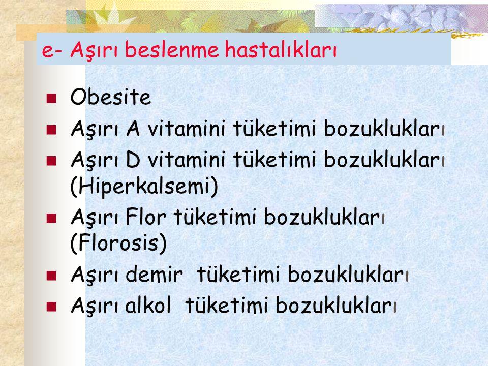 e- Aşırı beslenme hastalıkları Obesite Aşırı A vitamini tüketimi bozuklukları Aşırı D vitamini tüketimi bozuklukları (Hiperkalsemi) Aşırı Flor tüketim