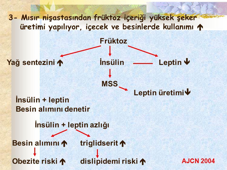 3- Mısır nişastasından früktoz içeriği yüksek şeker üretimi yapılıyor, içecek ve besinlerde kullanımı  Früktoz Leptin  İnsülinYağ sentezini  MSS Le