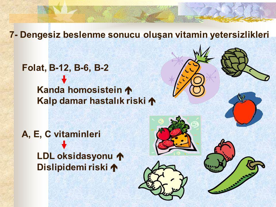 7- Dengesiz beslenme sonucu oluşan vitamin yetersizlikleri Folat, B-12, B-6, B-2 Kanda homosistein  Kalp damar hastalık riski  A, E, C vitaminleri L