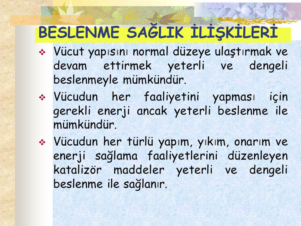 c- Avitaminozlar Keratomalasi (A) Raşitizm (D) Beriberi (B 1 ) Pellegra (Niacin) Megaloblastik anemi (Folik asit – B 12 ) B 2 eksikliği semptomları Pyridoksin eksikliği semptomları E vitamini eksikliği semptomları K vitamini eksikliğine bağlı kanamalar Skorbüt (C)