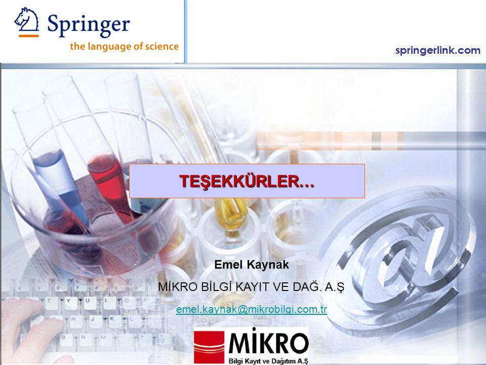springerlink.com Emel Kaynak MİKRO BİLGİ KAYIT VE DAĞ.