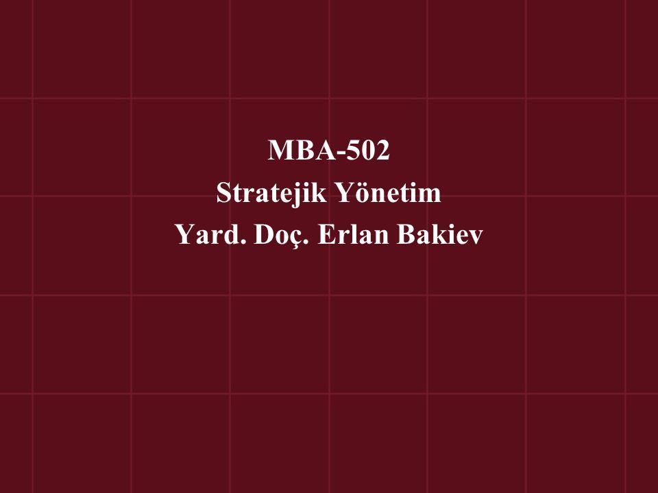 MBA-502 Stratejik Yönetim Yard. Doç. Erlan Bakiev