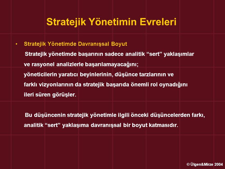 """Stratejik Yönetimin Evreleri Stratejik Yönetimde Davranışsal Boyut Stratejik yönetimde başarının sadece analitik """"sert"""" yaklaşımlar ve rasyonel analiz"""