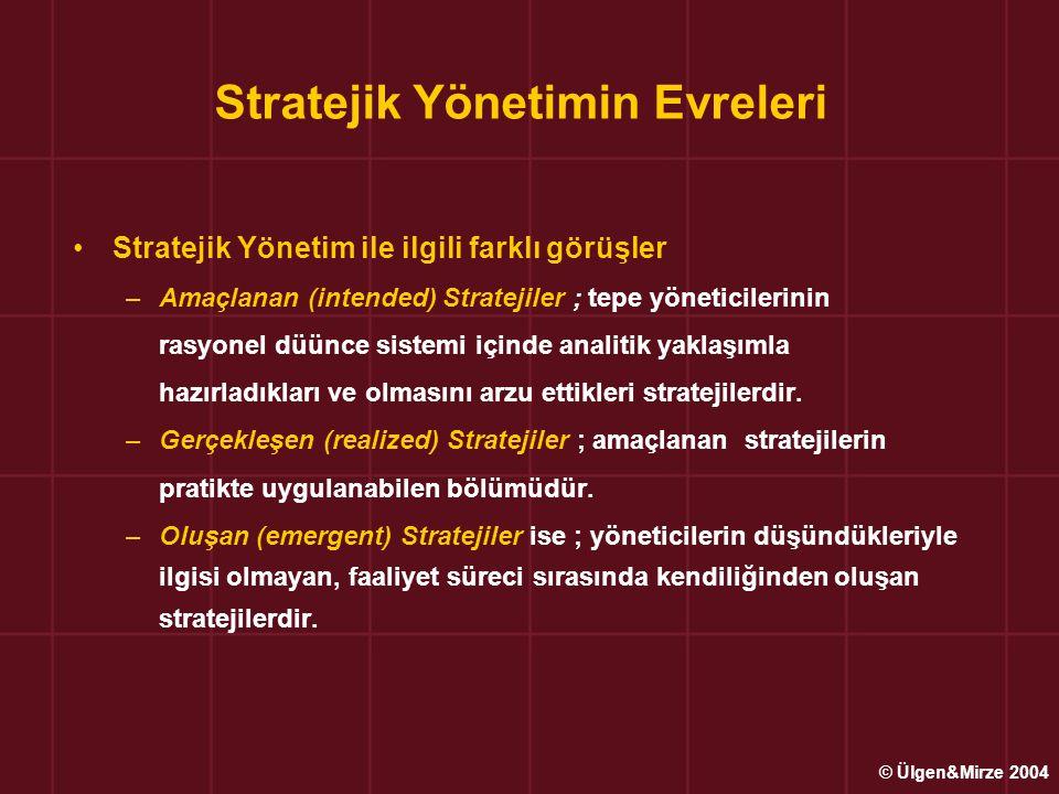 Stratejik Yönetimin Evreleri Stratejik Yönetim ile ilgili farklı görüşler –Amaçlanan (intended) Stratejiler ; tepe yöneticilerinin rasyonel düünce sis