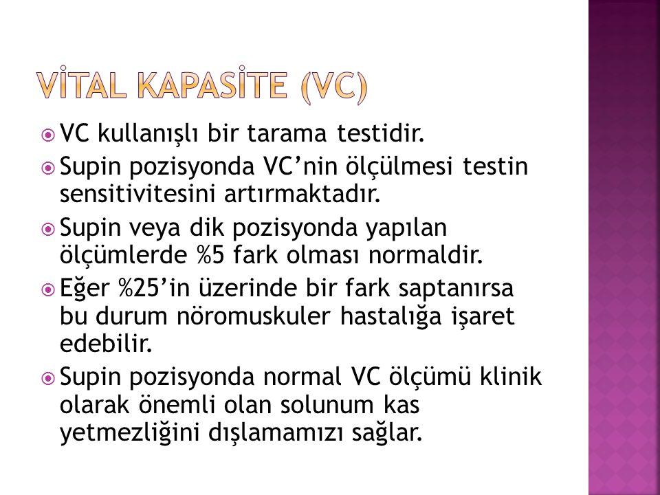  VC kullanışlı bir tarama testidir.  Supin pozisyonda VC'nin ölçülmesi testin sensitivitesini artırmaktadır.  Supin veya dik pozisyonda yapılan ölç