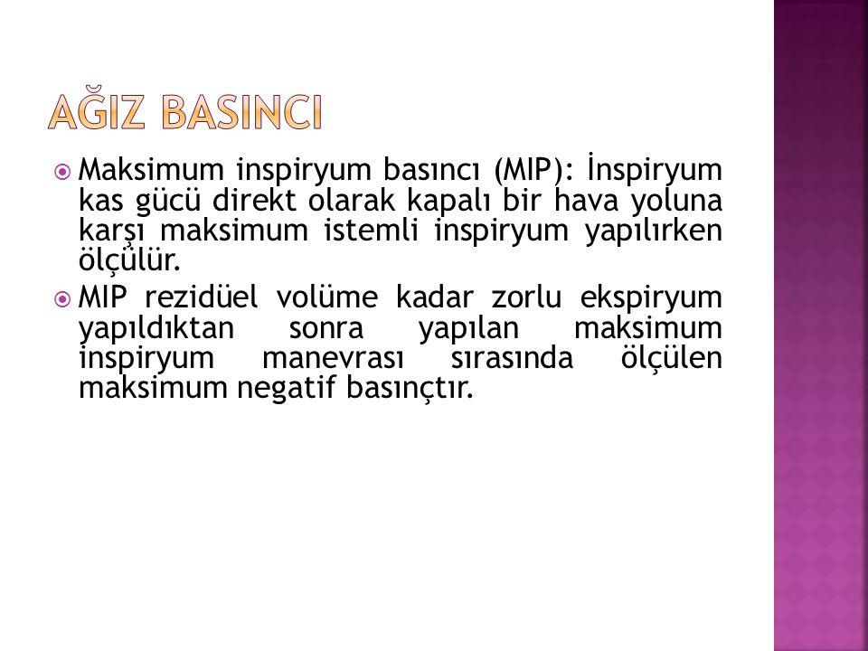 Maksimum inspiryum basıncı (MIP): İnspiryum kas gücü direkt olarak kapalı bir hava yoluna karşı maksimum istemli inspiryum yapılırken ölçülür.  MIP