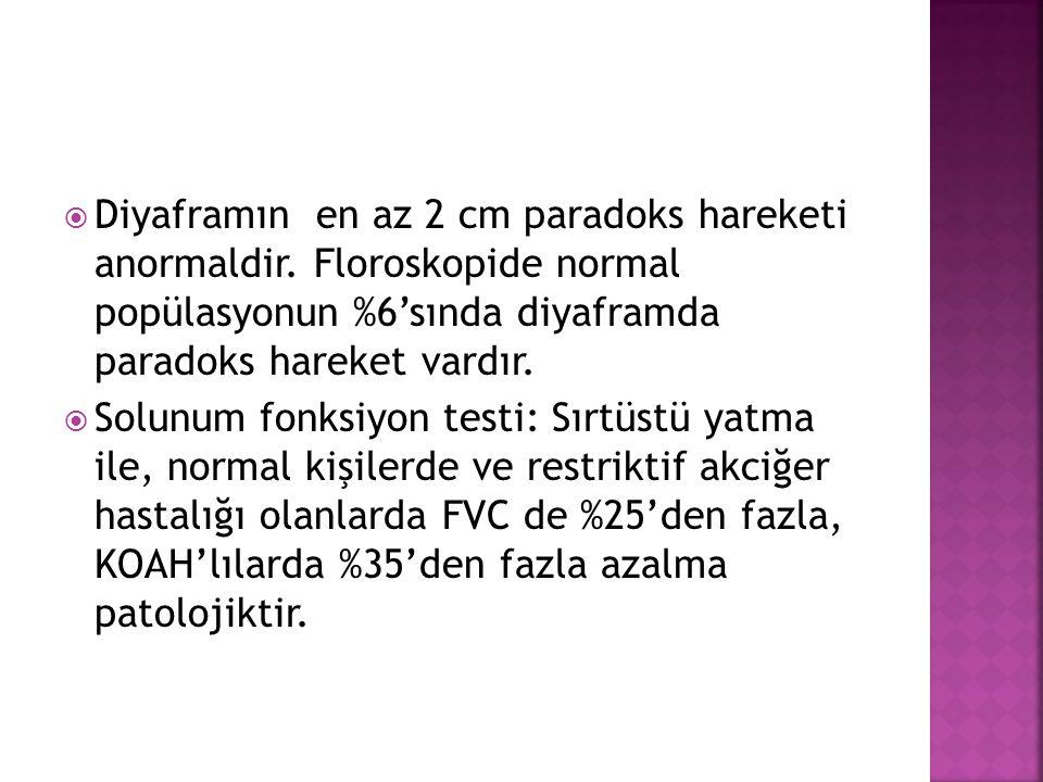  Diyaframın en az 2 cm paradoks hareketi anormaldir.