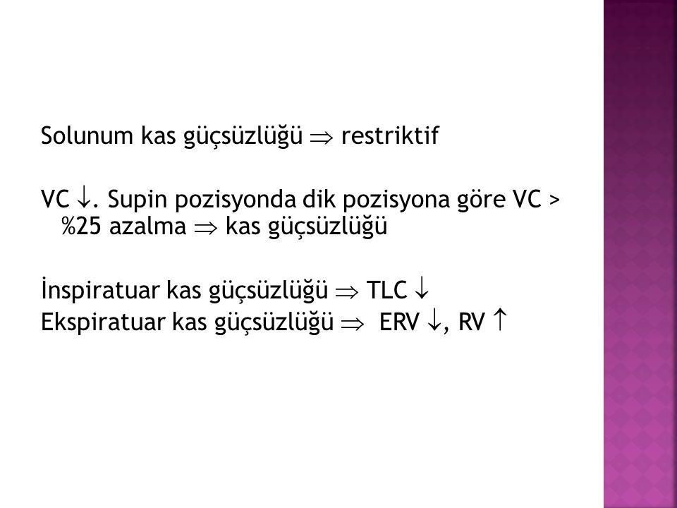 Solunum kas güçsüzlüğü  restriktif VC . Supin pozisyonda dik pozisyona göre VC > %25 azalma  kas güçsüzlüğü İnspiratuar kas güçsüzlüğü  TLC  Eksp