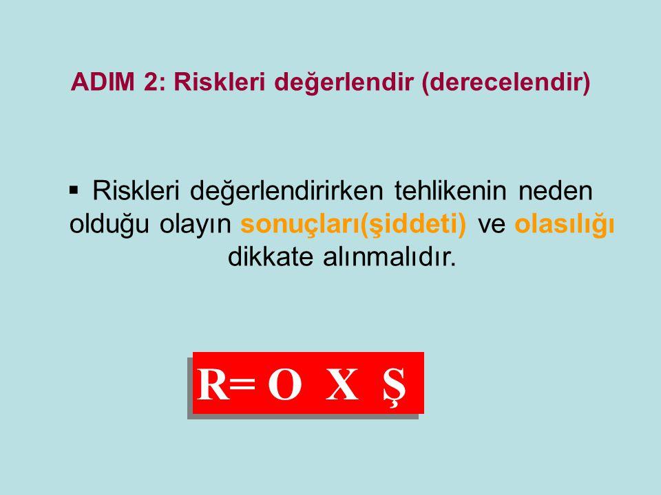 ADIM 2: Riskleri değerlendir (derecelendir)  Riskleri değerlendirirken tehlikenin neden olduğu olayın sonuçları(şiddeti) ve olasılığı dikkate alınmal