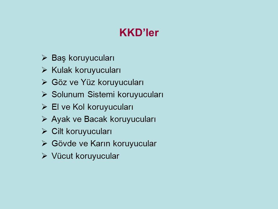 KKD'ler  Baş koruyucuları  Kulak koruyucuları  Göz ve Yüz koruyucuları  Solunum Sistemi koruyucuları  El ve Kol koruyucuları  Ayak ve Bacak koru