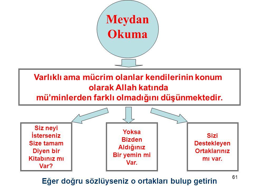 61 Varlıklı ama mücrim olanlar kendilerinin konum olarak Allah katında mü'minlerden farklı olmadığını düşünmektedir. Siz neyi İsterseniz Size tamam Di