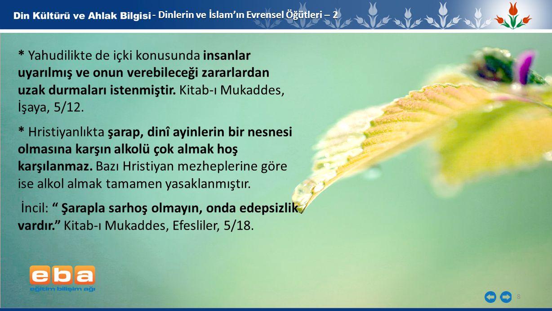 8 - Dinlerin ve İslam'ın Evrensel Öğütleri – 2 * Yahudilikte de içki konusunda insanlar uyarılmış ve onun verebileceği zararlardan uzak durmaları iste