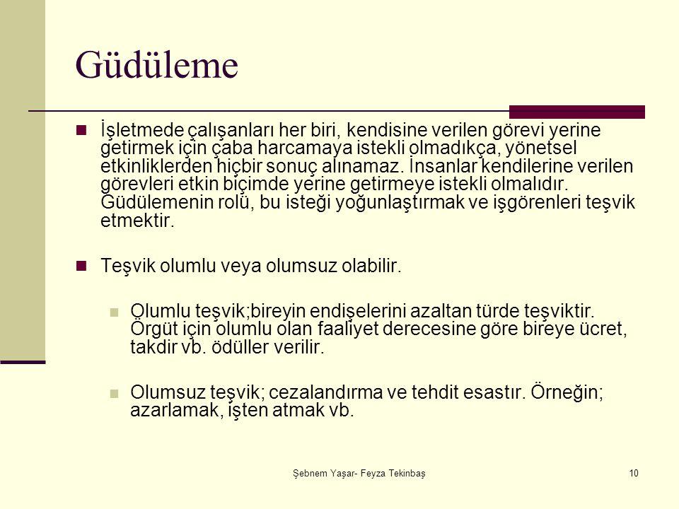 Şebnem Yaşar- Feyza Tekinbaş10 Güdüleme İşletmede çalışanları her biri, kendisine verilen görevi yerine getirmek için çaba harcamaya istekli olmadıkça, yönetsel etkinliklerden hiçbir sonuç alınamaz.