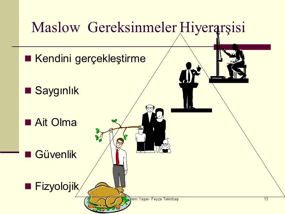 Şebnem Yaşar- Feyza Tekinbaş13 Maslow Gereksinmeler Hiyerarşisi Kendini gerçekleştirme Saygınlık Ait Olma Güvenlik Fizyolojik