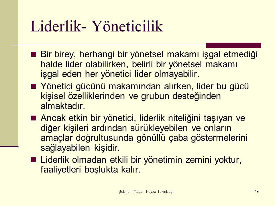Şebnem Yaşar- Feyza Tekinbaş19 Liderlik- Yöneticilik Bir birey, herhangi bir yönetsel makamı işgal etmediği halde lider olabilirken, belirli bir yönetsel makamı işgal eden her yönetici lider olmayabilir.
