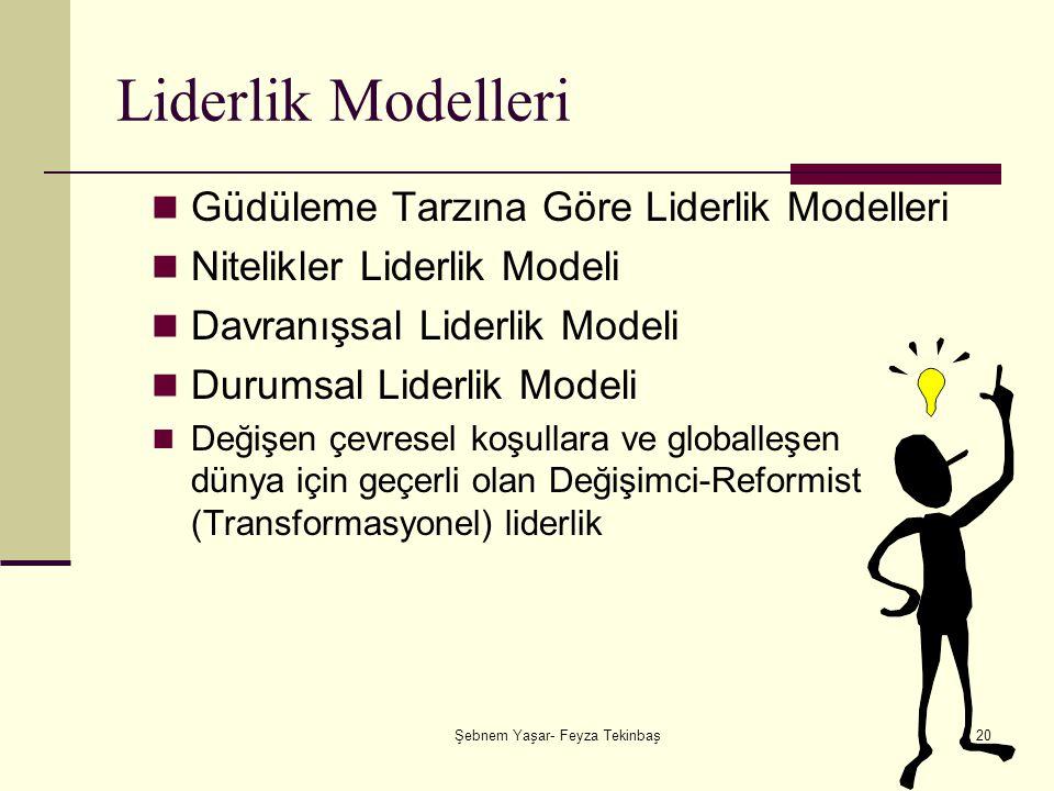 Şebnem Yaşar- Feyza Tekinbaş20 Liderlik Modelleri Güdüleme Tarzına Göre Liderlik Modelleri Nitelikler Liderlik Modeli Davranışsal Liderlik Modeli Durumsal Liderlik Modeli Değişen çevresel koşullara ve globalleşen dünya için geçerli olan Değişimci-Reformist (Transformasyonel) liderlik