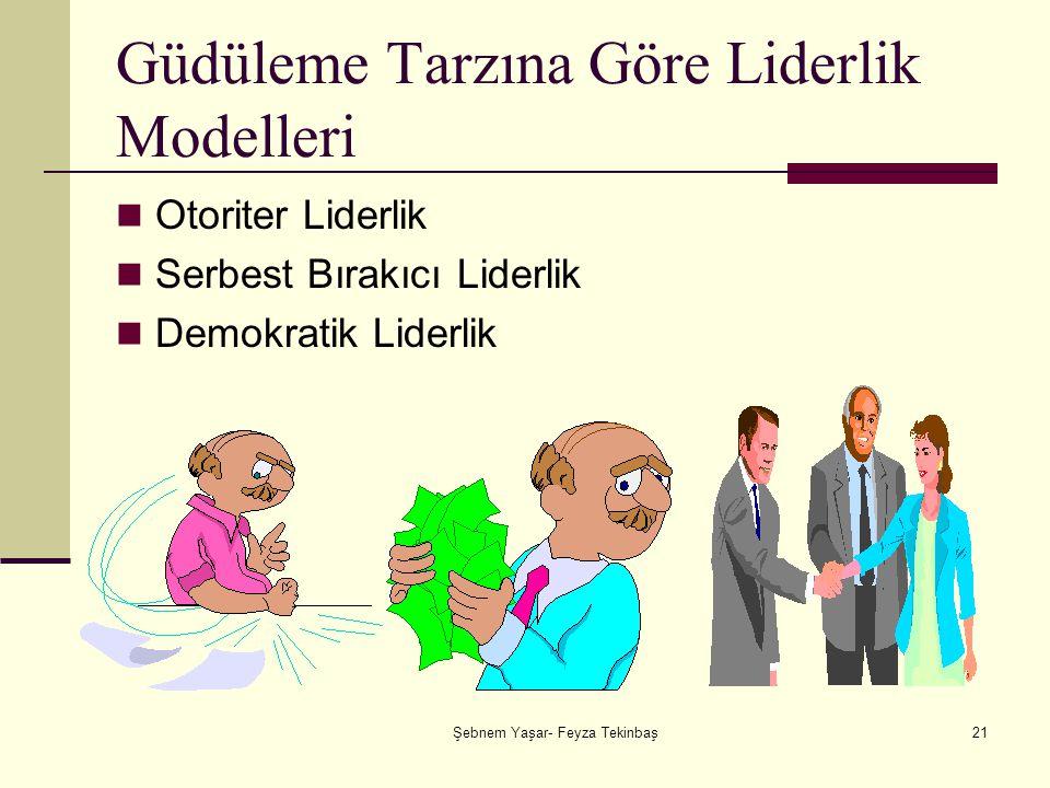 Şebnem Yaşar- Feyza Tekinbaş21 Güdüleme Tarzına Göre Liderlik Modelleri Otoriter Liderlik Serbest Bırakıcı Liderlik Demokratik Liderlik