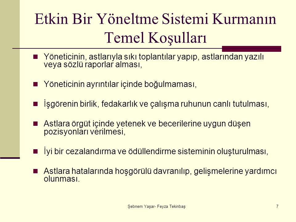 Şebnem Yaşar- Feyza Tekinbaş18 LİDERLİK Yönetim, başkalarına iş gördürme, başkaları aracılığıyla iş başarma ve amaçlara ulaşmadır.