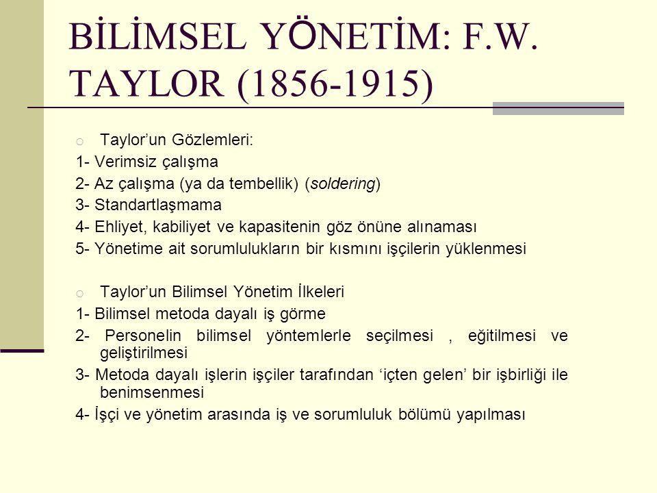 BİLİMSEL Y Ö NETİM: F.W. TAYLOR (1856-1915) o Taylor'un Gözlemleri: 1- Verimsiz çalışma 2- Az çalışma (ya da tembellik) (soldering) 3- Standartlaşmama